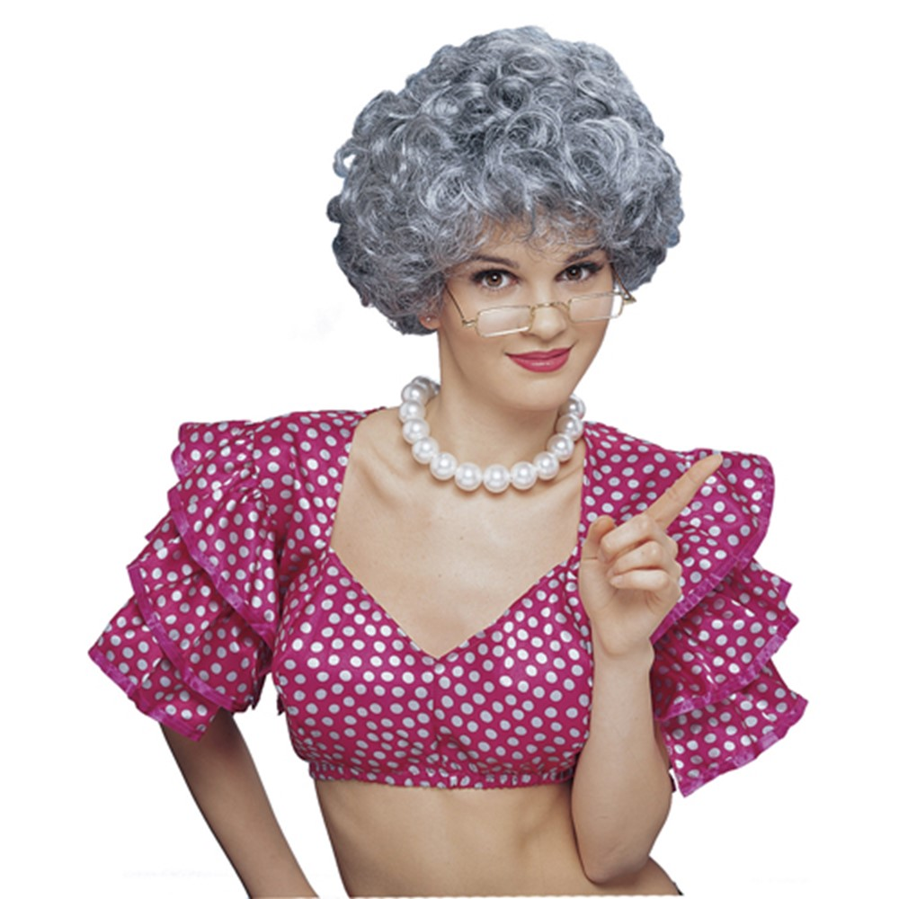 Womens Grey Middle Aged Housewife Costume Accessory Wig