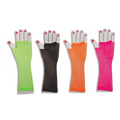 80's Long Neon Fishnet Gloves Costume Accessory