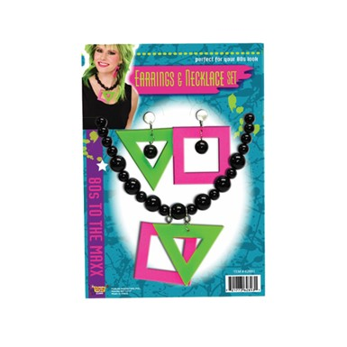 80's Neon Earrings and Necklace Costume Accessory Kit