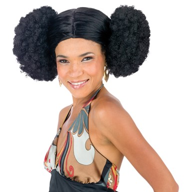 Black Afro Wig - Afro Poof