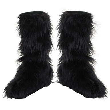 Black Furry Boot Covers for Childrens Costume