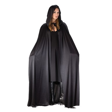 "Black Hooded 68"" Cape for Adult Halloween Costume"