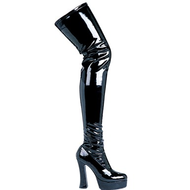 Black Thigh High Boots - Patent Leather
