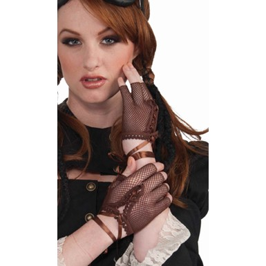 Brown Fingerless Fishnet Gloves Costume Accessories