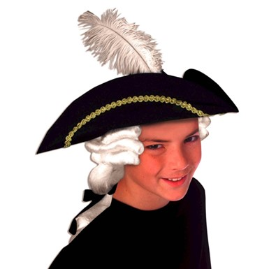Child Colonial Hat With Wig Unisex Historical Accessories