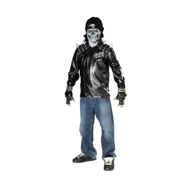 Dead City Choppers Metal Skull Biker Kids Costume