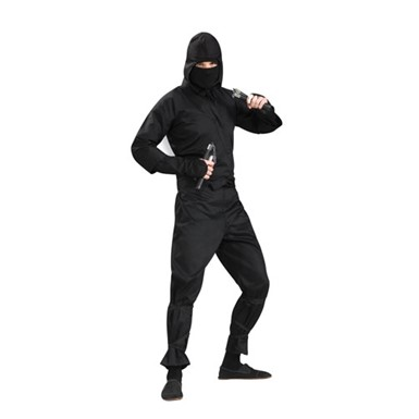 Deluxe Black Kung Fu Ninja Mens Adult Halloween Costume