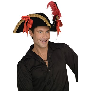 Deluxe Black Velvet Pirate Hat with Gold Trim