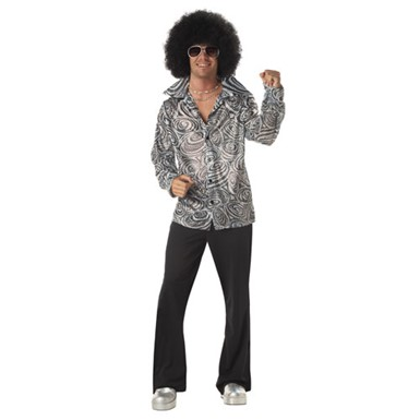 Disco Costume for Men - Groovy Disco Shirt with Afro