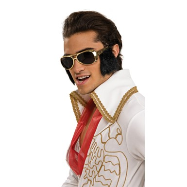 Elvis Glasses with Sideburns - Gold