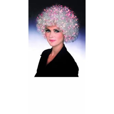 Fiber Optic Afro Wig - White