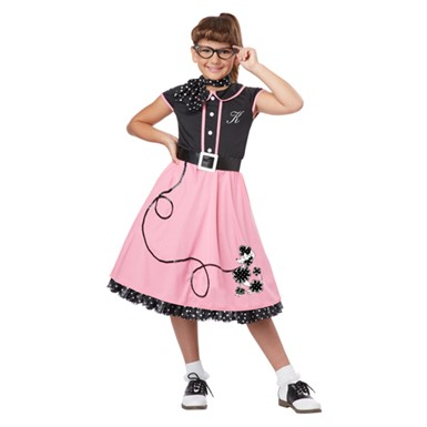 Girls 50's Sweetheart Pink Costume