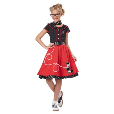 Girls 50's Sweetheart Red Costume