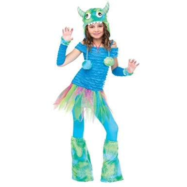 Girls Blue Beastie Costume