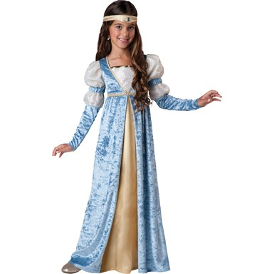 Girls Blue Renaissance Maiden Halloween Costume