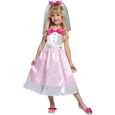 Girls Bride Barbie Costume