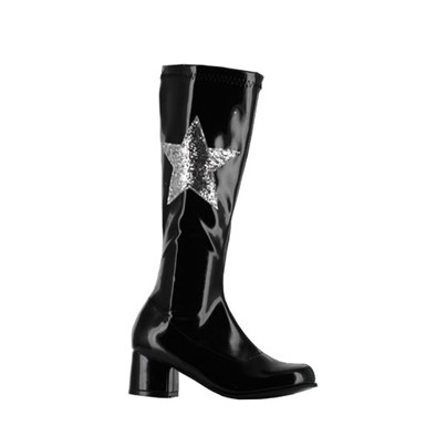 Girls Gogo Boots With Star - Black