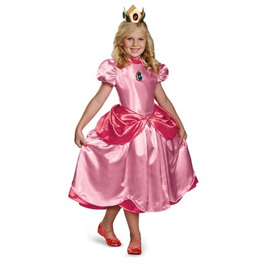 Girls Princess Peach Deluxe Costume