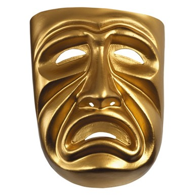 Gold Theatre Tragedy Mask for Halloween Costume