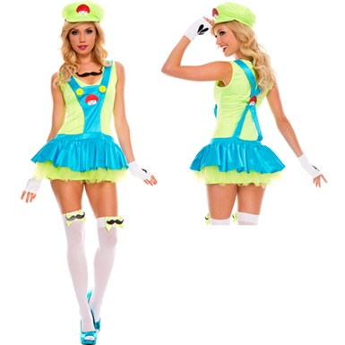 Green Playful Plumber Costume - Womens