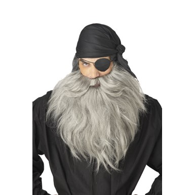 Grey Pirate Beard and Stash for Adult Halloween Costume