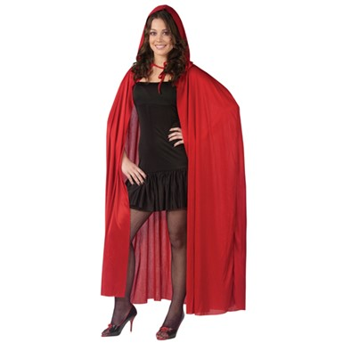 "Hooded Cape - 68"" Red"