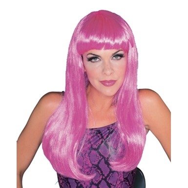 Hot Pink Long Glamour Wig for Sexy Halloween Costume