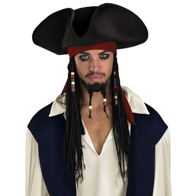 Jack Sparrow Hat with Braids - Mens