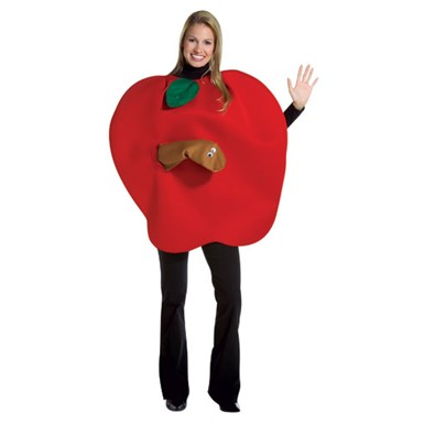 Juicy Red Apple With Worm Adult Standard Costume