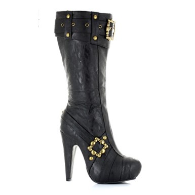 Knee High Steampunk Boots - Black