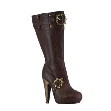 Knee High Steampunk Boots - Brown