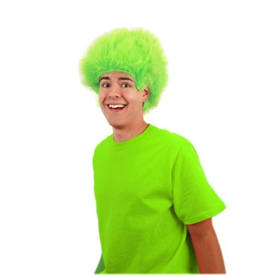Lime Green Fuzzy Wig