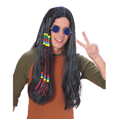 Long Black Hippie Wig with Braids and Beads for Costume