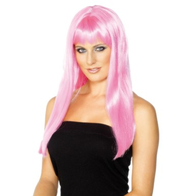 Long Pink Glamour Wig
