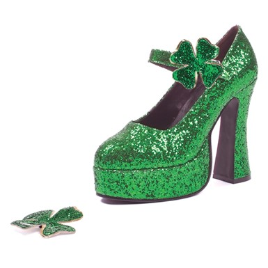 Mary Jane High Heel Pumps - Green Glitter