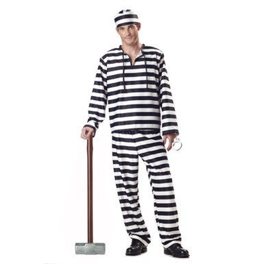 Mens Convict Costume - Jailbird Convict