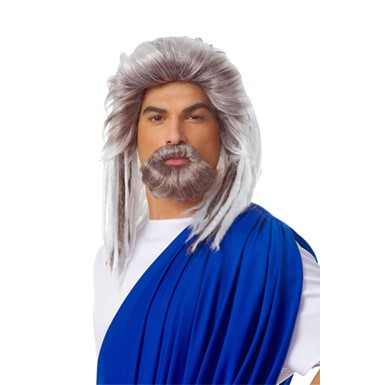 Mens Neptune Grey Adult Roman Costume Wig And Beard