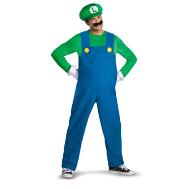 Mens Super Mario Bros Luigi Costume - Deluxe