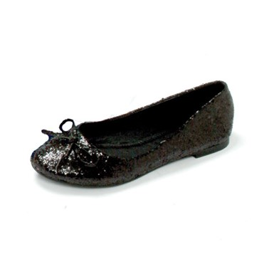 Mila Adult Flats With Bow - Black Glitter