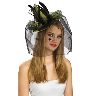 Mini Green Witch Hat with Spider Veil Halloween Costume