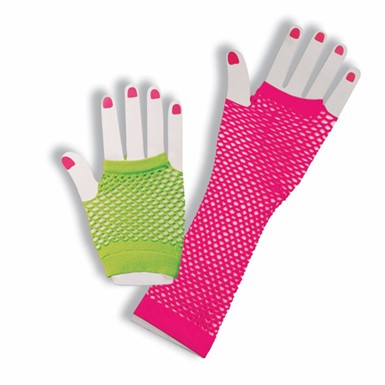 Neon Fishnet Gloves - Green/Pink