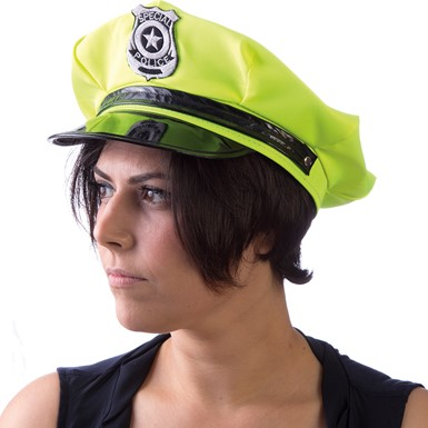 Neon Green Blacklight Glowing Police Hat