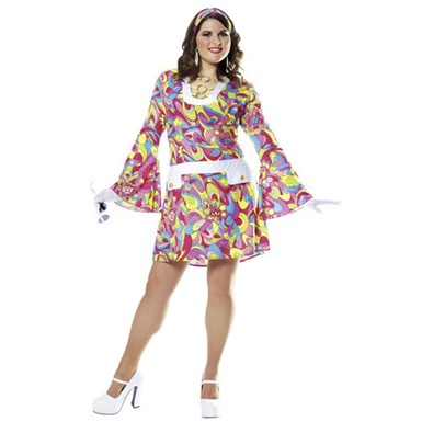 Plus Size Womens Groovy 60's Costume