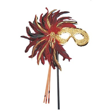 Red Feather Mask With Stick