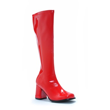 Red Knee High Boots - Go Go