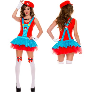 Red Playful Plumber Costume - Womens