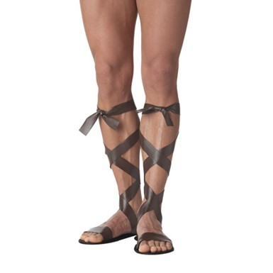 Roman Sandals Costume Mens - Brown
