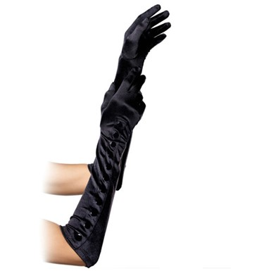 Sexy Black Satin Gloves w/Buttons for Costume