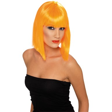Short Neon Orange Glam Wig