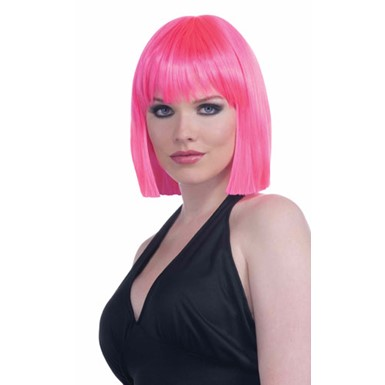 Short Neon Pink Vibe Wig
